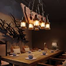 Country Style Pendant Lights Retro Industrial Pendant L 6 Boat Wood Light American
