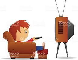 Cartoon Armchair Cartoon Man With Remote Watch Tv In Armchair Stock Vector Art
