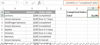 excel sum formula to total a column rows or only visible cells