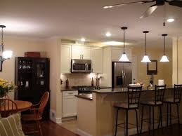 kitchen rustic brown ceiling fan one wall island cathedral galley