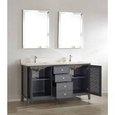 63 inch pepper gray finish cottage double sink bathroom vanity