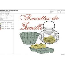 dessin recette de cuisine motif de broderie machine cuisine recettes de famille broderie