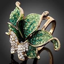 green fashion rings images Free shipping high quality green imitation diamond ring butterfly jpg