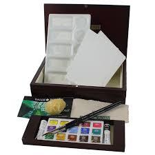 daler rowney artists watercolour paints in wooden box half pan