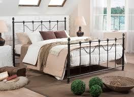 bedroom modern dark bronze iron metal full platform bed tubular