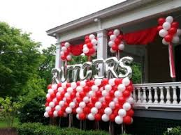 mylar letter topped balloon columns rutgers balloon decor party