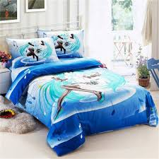 Single Bed Linen Sets Blue Music Note Hatsune Miku Kawaii Japanese Anime Bedding Set