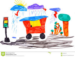 children u0027s drawing car and traffic light stock photography