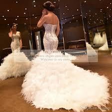 feathers mermaid wedding dresses 2016 plus size royal princess
