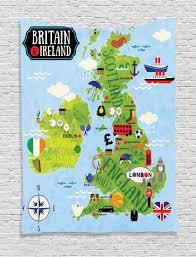 Map Tapestry Cartoon Map Britain Ireland Children Soldier Landmarks Uk Wall