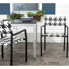 Patio Chair Set Of 2 by Safavieh Halden White And Black Aluminum Pe Wicker Patio Armchair