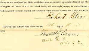 oath of office april 26 1870 bullock texas state history museum