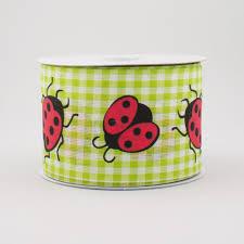 ladybug ribbon 2 5 gingham ladybug ribbon green white 10 yards q730940 08