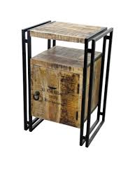 industrial style iron and wood end table vintage home decor