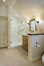 Small Attic Bathroom Sloped Ceiling by Like The Herringbone Tile And The Placement Of The Built In Sink