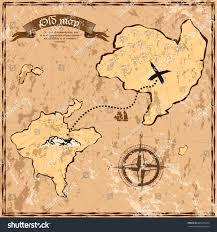 World Treasure Map by Vintage Map Ocean Sea Islands Boat Stock Vector 605473544