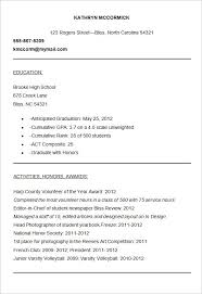 high school resume college application resume template standard college application