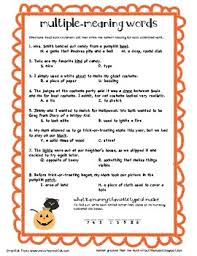 multiple meaning words halloween fourth grade fun pinterest