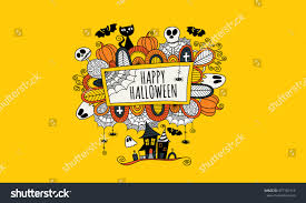 halloween abstract halloween doodle vector illustration words happy stock vector