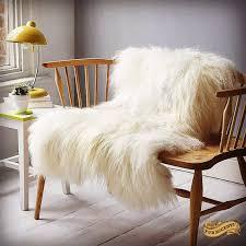 Mongolian Faux Fur Rug Fur Accents Shaggy Off White Mongolian Sheepskin Throw Blanket