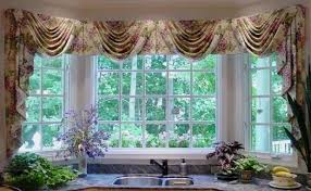 Curtains Valances And Swags Kitchen Lovely Bay Window Curtain Drapery Floral Fabric Valance
