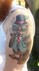 dapper owl this fine gent done by bill smiles dovetail tattoo