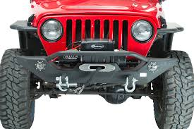 jeep yj winch fishbone offroad fb22016 front winch bumper with led u0027s for 87 06