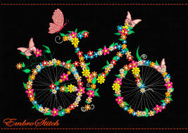 bicycle in flowers and butterflies embroidery design 2 sizes u0026 8