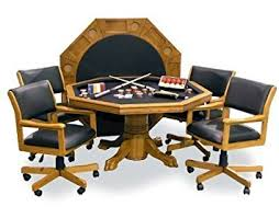poker game table set amazon com signature combination game table set w 4 chairs oak