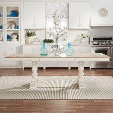 homesullivan margot antique white and oak extendable dining table