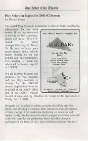 Acclaim Sound And Lighting Ann Arbor Civic Theatre Program The Front Page March 08 2001
