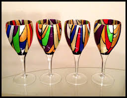 crafted painted wine glasses abstract colorful stained