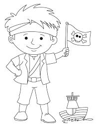 pirate boy waving flag coloring download free pirate boy