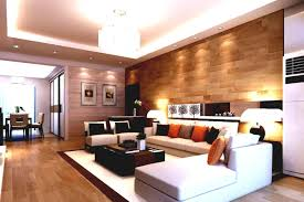High Gloss Laminate Floor Living Room Wood Wall Covering Ideas Concrete Wall Beige Fabric