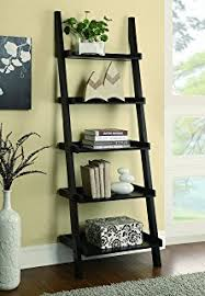 amazon com poundex leaning bookcase bookshelf dark espresso