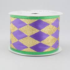 mardi gras ribbon 2 5 mardi gras glitter satin harlequin ribbon purple gold and