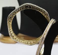 diamond studded hallmark certified 18 42 ct diamond studded 14k gold bangles