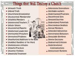 Donnie Barnes Bible Charts Onlyonetruechurch Things That Destroy A Church