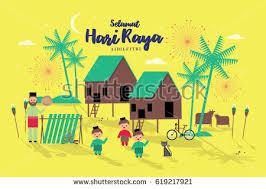 raya greetings template vectorillustration malay words stock
