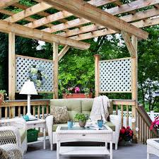 Define Backyard White Pergola Over Stamped Concrete Patio Archadeck Outdoor Living