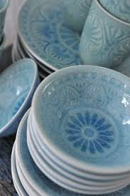 pretty blue cereal bowls salad plates and