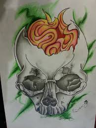 pretty grotesque skull with candle tattoo design by