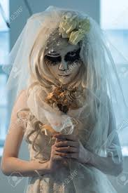 halloween witch beautiful bride woman wearing santa muerte mask