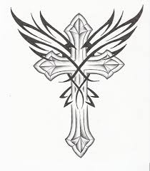 tribal wings and cross design