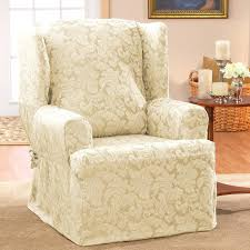 furniture enticing floral slipcover design for wingback chair