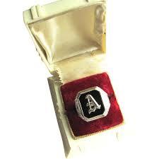 Monogram Signet Rings 10k White Gold Onyx Art Deco Signet Ring Monogram A Mens Unisex