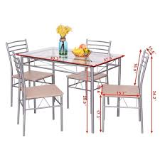 amazon com giantex 5 piece dining set table and 4 chairs glass