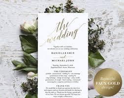 gold wedding programs wedding program etsy
