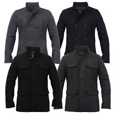 mens wool mix jacket threadbare coat double breasted duffle lined