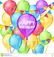 happy birthday vector greeting card with balloons and ribbon stock